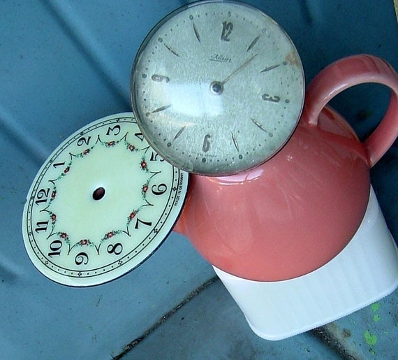 MAMAW the TRASHION WAITRESS  vintage clock recycled assemblage art
