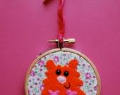 Ethel the hamster embroidery art hoop