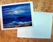 Night by the Moon Seascape Note Card by Maria Williams