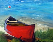 Original Oil Painting / Morning at the Lake / Red Canoe Boat / Buoy /  by Maria Williams
