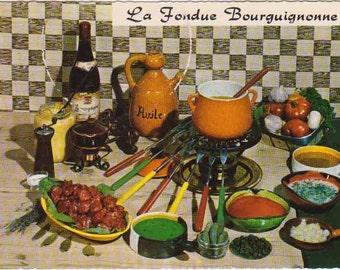 Fondue Bourguignonne French Postcard Vintage Unused