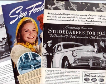 Three Antique Car Ads  Buick Studebaker Fisher Cars