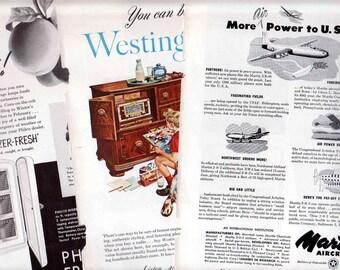 Three Antique Ads Martin Aircraft Westinghouse Radio Philco Freezer