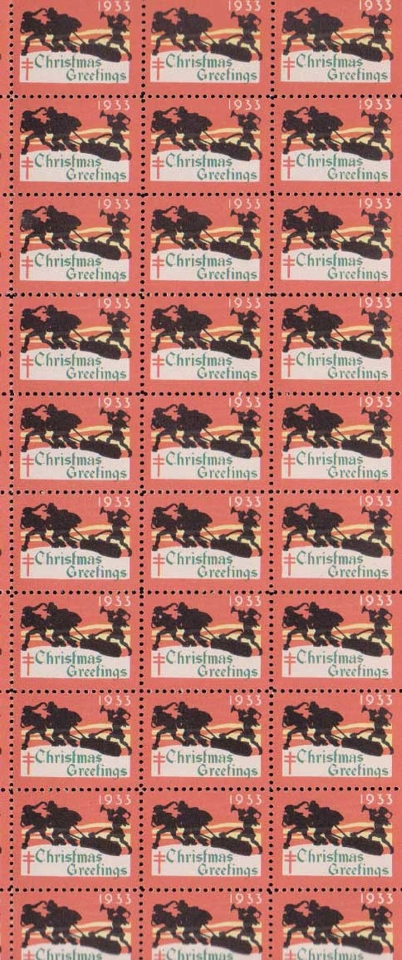 Antique 1933 Christmas Seals U. S. Stamp 30 stamps Free US shipping