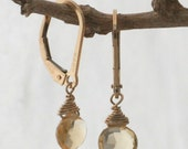 Citrine Briolette and  14k Gold Filled Lever Back Earrings