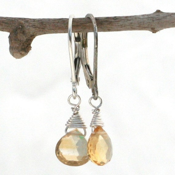 Citrine Briolette and Sterling Silver  Lever Back Earrings