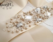 Romantic jeweled bridal sash and crystal belt in champagne.  This exact piece is Ready To Ship.