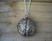 Silver Zombie Brain Locket Pendant Necklace