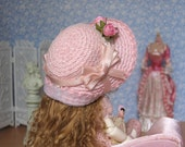 Handmade straw hat for small doll
