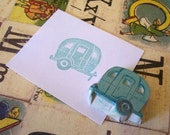 Happy Trails - Tiny Retro Ice Cube Trailer  Rubber Stamp