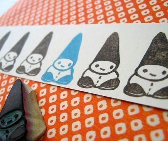 Rolf the Bitsy Baby Gnome - Hand Carved Rubber Stamp