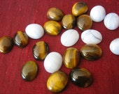 Tiger's Eye and Blue Lace Agate Cabochons