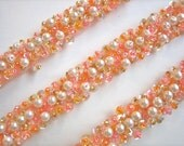 Peaches and Cream Beaded Trim 5 yards 15 inches