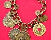 Dragon Bracelet - Buddha Bracelet - Gold Charm Bracelet - Asian Coin Bracelet - Protection Jewelry