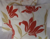 Pair of cushion covers Retro flower  print  large orange flowers 16 inch pillow