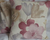 One cushion cover Retro flower  print soft pink and blue  flowers 16 inch pillow