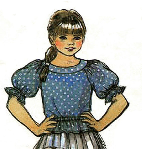 Vintage Pattern McCALL'S 7925 Yoked Peasant Blouses - Girl Size 8