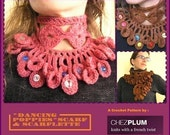 Crochet pattern PDF for Cowl scarflette with buttons - Dancing poppies - INstant download, permision to sell