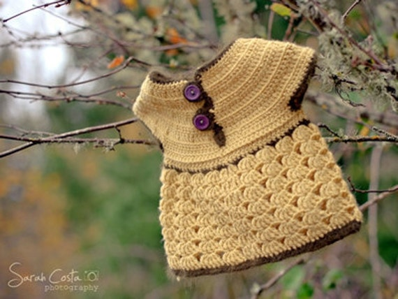 Roselette - CROCHET PATTERN for girls sweater size Newborn to 10 years old