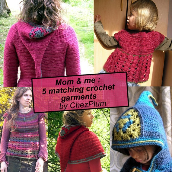 Mom and me, a collection of 5 matching crochet patterns for fashionable mums and their kids - pdf instant download ebook