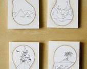 SALE Set of 4 handmade ACEO A BRIGHT IDEA mounted on foamboard