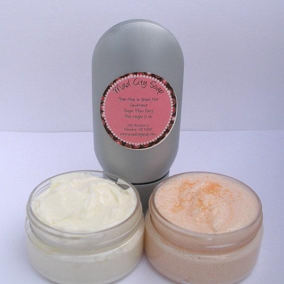 Dessert Sampler Pack  -- Buttercream Frosting Hair Conditioner, Vanilla Swirl Body Scrub, and Fresh Marshmallow Double Butter Body Cream