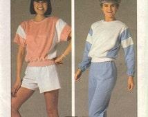 Simplicity 6906 Misses Shirt, Pants, Shorts 80s Vintage Sewing Pattern Size Medium 14, 16 Uncut Sweat Suit, Jogging, Sportswear