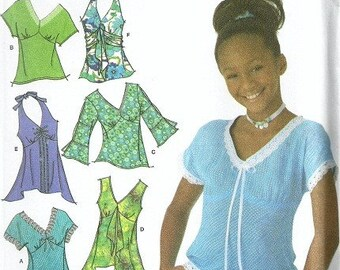 Simplicity 4163 Raven Sewing Pattern Girls Tops, Halter Top Plus Size 8 1/2, 10 1/2, 12 1/2, 14 1/2, 16 1/2 Uncut