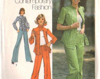 Simplicity 6792 Misses 70s Tucked Shirt, Pants, Scarf Vintage Sewing Pattern Size 12 Bust 34 Uncut Young Contemporary Fashion