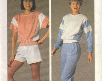 Simplicity 6906 Misses Shirt, Pants, Shorts 80s Vintage Sewing Pattern Size Medium 14, 16 Uncut Sweat Suit, Jogging, Sportswear