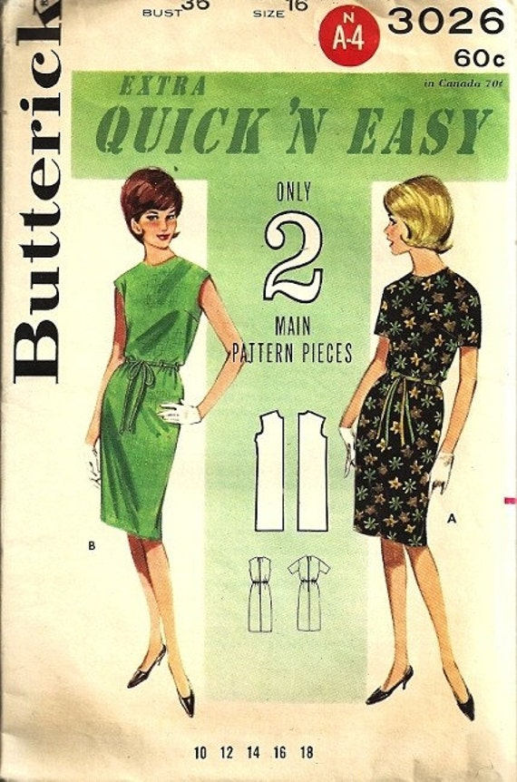Butterick 3026 Misses Shift Dress 60s Sewing Pattern Size 16