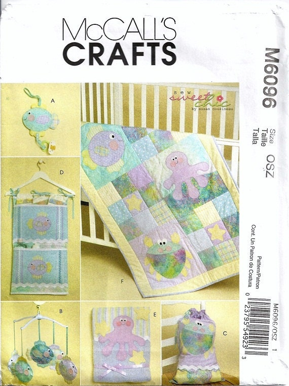 Baby Quilt Patterns Mccalls : McCalls 6096 Baby Quilt Organizer Mobile Octopus Fish