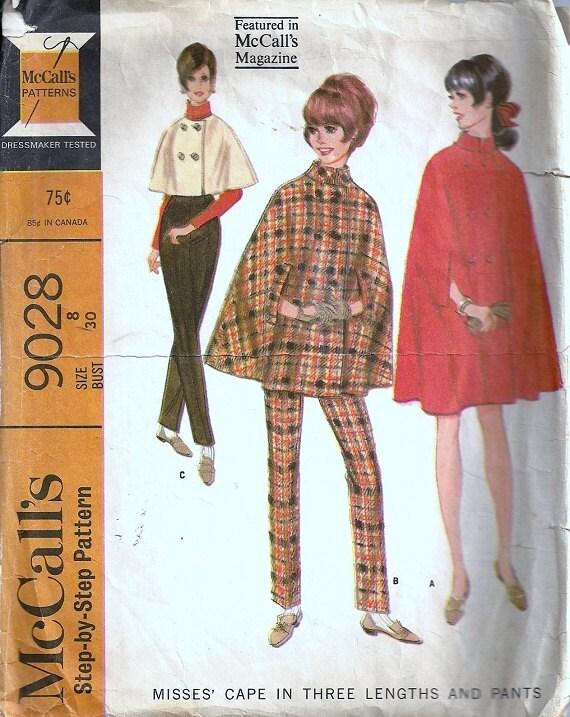 McCalls 9028 Misses Cape, Pants 60s Vintage Sewing Pattern Size 8
