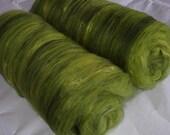 Softest merino silk batts, felting wool, spinning fiber, batting, carded fiber, nuno felting, needle felting, green shades, 3.5oz, 100g