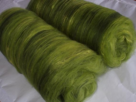 Drum carded extra soft merino/silk batts, for handspinning and felting, 3.9oz/110g