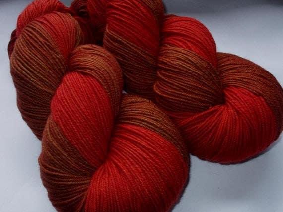 RED MAHOGANY - Deluxe handpainted ultra fine merino yarn, 5.3oz/150g