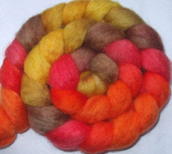 Extra soft BFL wool roving, handpainted, for handspinning and felting, 3.5oz/100g