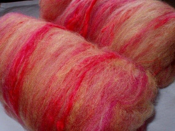 Drum carded and handpainted super soft BFL wool & silk batts, 3.8oz/107g