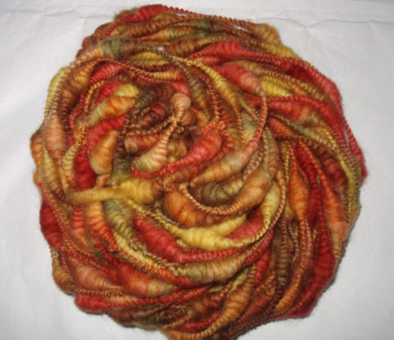 BOHEMIAN WOODS - ooak handpainted and handspun falkland coiled yarn, beehive yarn, art yarn
