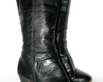 Vintage Black Boots - Black Leather Boots- Vegan Leather Boots- TALL BLACK BOOTS- Womens Size 7 Boots- Ladies Size 6 Size 7- Dressy Boots