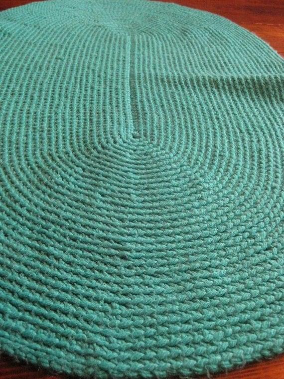 Teal Vintage Woven Kitchen Area Oval Floor Rug