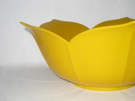 Goldenrod LOTUS Vintage Plastic Serving Bowl, Centerpiece Dish
