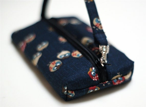 Zippered Pouch | Vegan Wallet | Fabric wallet |Camera Case | Owl Pouch |