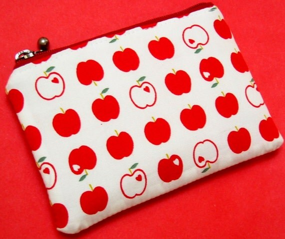 Mini Zippered Pouch - Red delicious apples on winter white