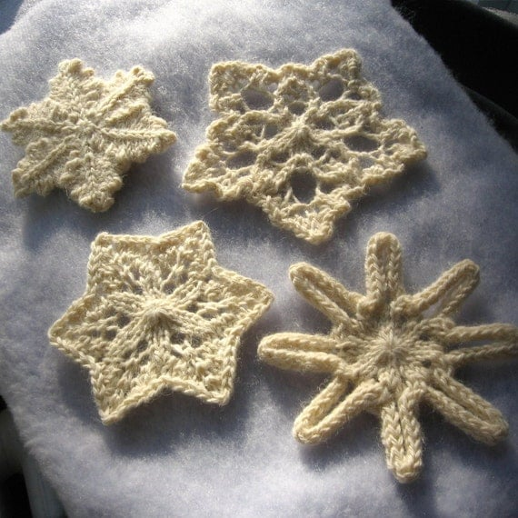 Knit Snowflake Ornament Pattern : Knit Snowflakes Pattern PDF by NeedleNoodles on Etsy