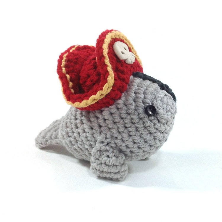 Amigurumi Manatee Pattern : Pirate Manatee Handmade Amigurumi Toy by NeedleNoodles on Etsy