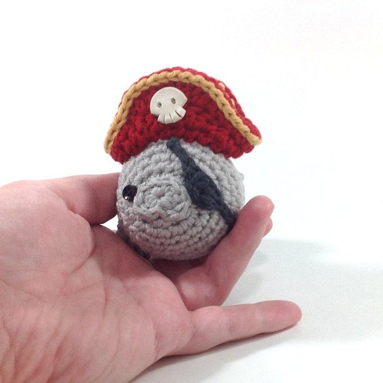 Amigurumi Manatee : Pirate Manatee Handmade Amigurumi Toy by NeedleNoodles on Etsy