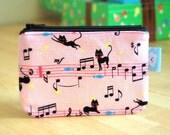 Small zipper pouch--- Musical kitty cats