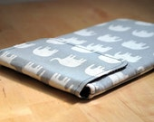 Kindle cover case, Kindle sleeve, Fits Fire, Nexus, Kobo, Nook, Sony Ereaders or small tablets - Elephant march on grey