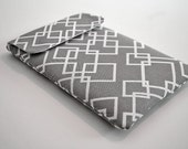 RESERVED--Kindle Case / Kindle Cover / Kindle Sleeve/ NEW Kindle fire- fits most Ereaders and Small Tablets--- Grey and white abstract